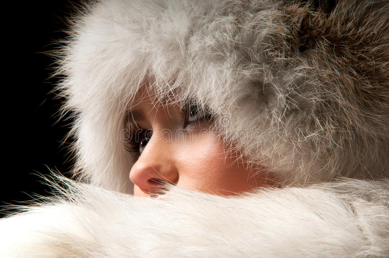 Download Woman in a fur hat stock image. Image of face, portrait - 21072913