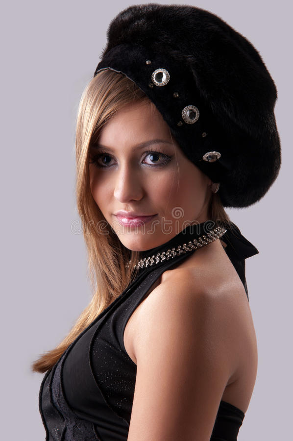 Download Woman in a fur hat stock image. Image of face, human - 22352939