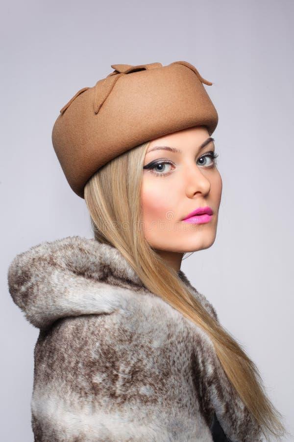 woman fur hat retro royalty free stock image