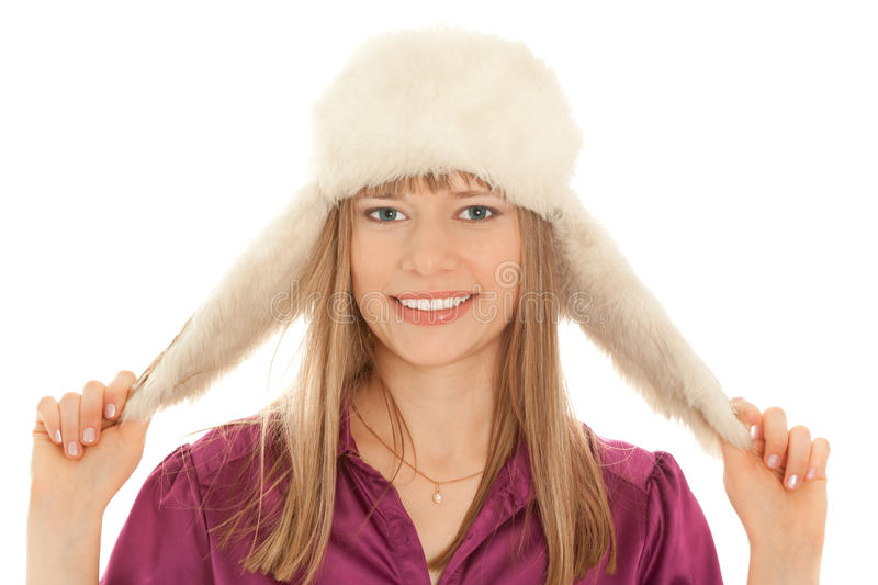 Download Woman in fur hat smiling stock photo. Image of makeup - 16958952