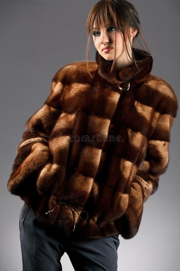 Download Woman in fur jacket stock photo. Image of sheepskin, nice - 21495034