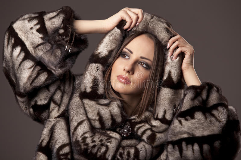 Download Woman In Fur Jacket With Hood Stock Photos - Image: 17099133