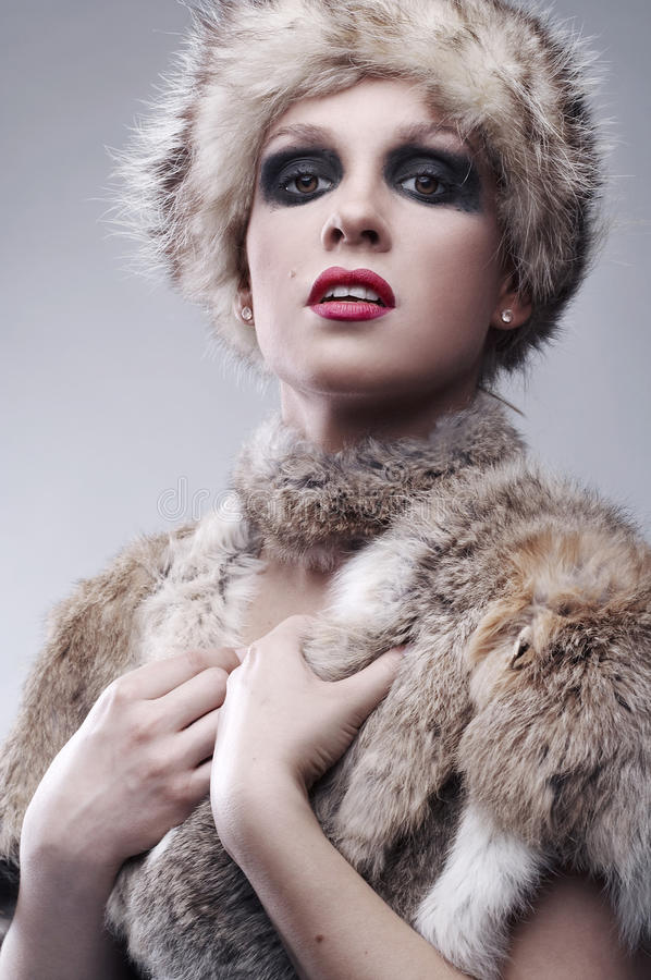 Download Woman in fur, studio shot stock image. Image of glamour - 18396315