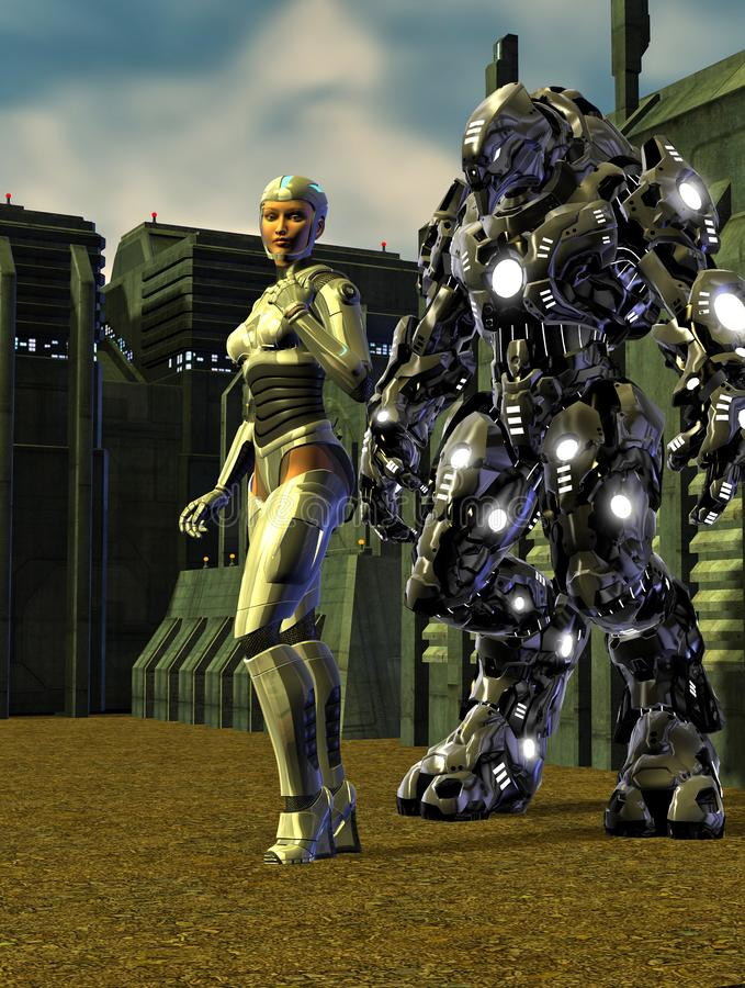 Woman with futuristic armor together with a combat robot, near a space base, 3d illustration.  vector illustration