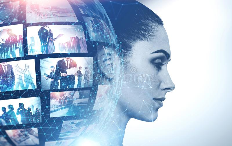 Woman and futuristic video streaming interface. Profile of beautiful women with double exposure of planet hologram and picture thumbnails. Concept of internet stock image