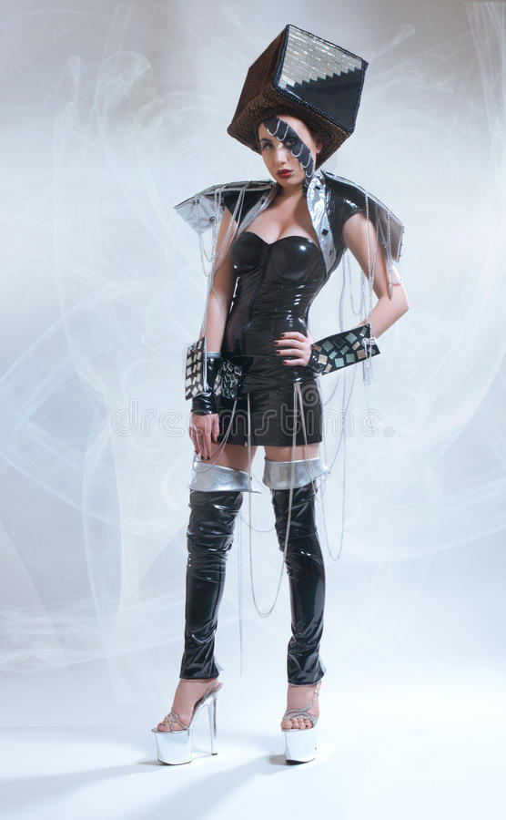 Woman in fututistic costume royalty free stock image