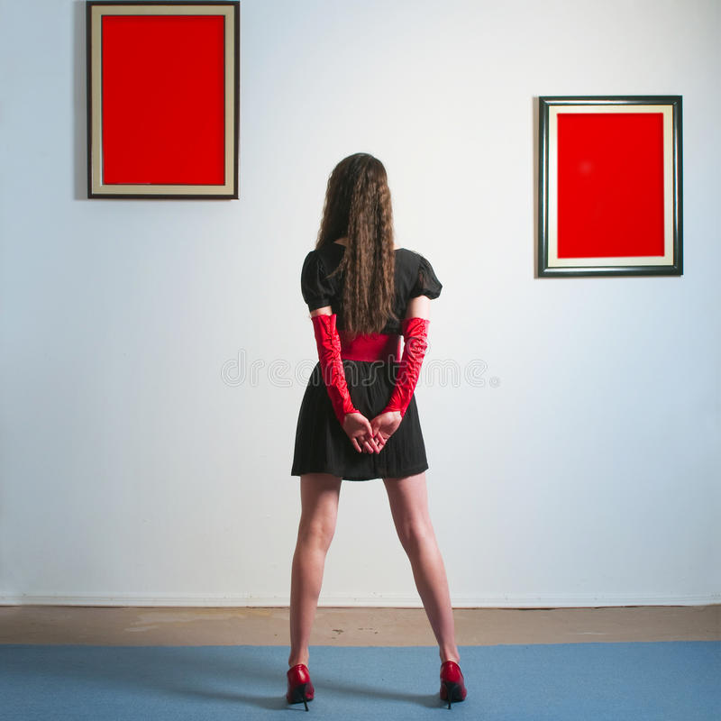 Download Woman in gallery stock photo. Image of paintings, wall - 14481690