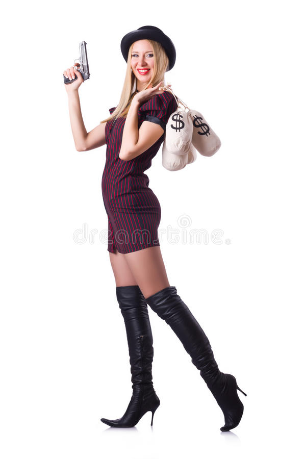 Download Woman gangster stock image. Image of background, black - 32923429