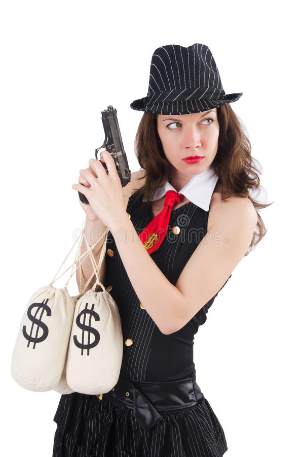 Download Woman Gangster With Gun Stock Photo Image Of Bags Female