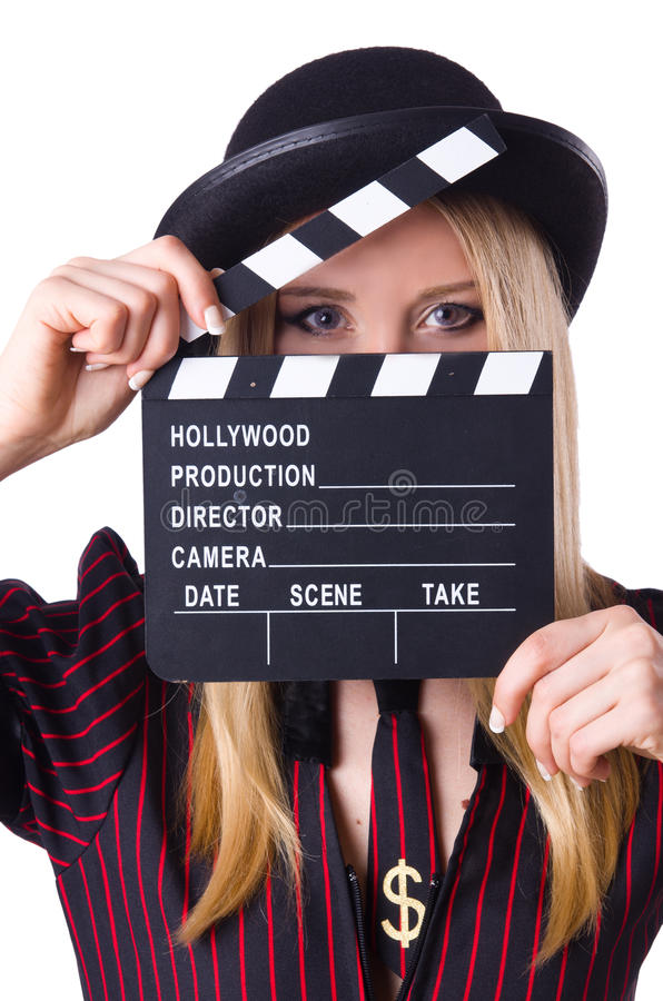 Download Woman Gangster With Movie Board Stock Photo - Image: 30345960