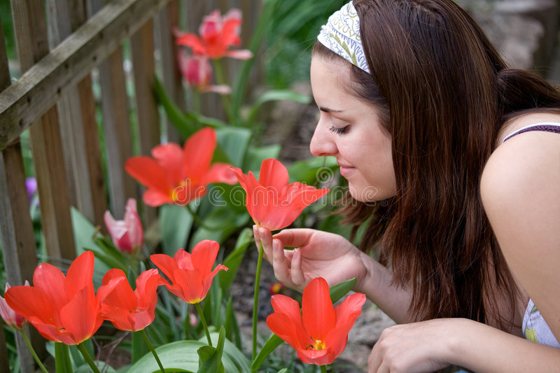 Download Woman in the garden stock image. Image of working, young - 9032143