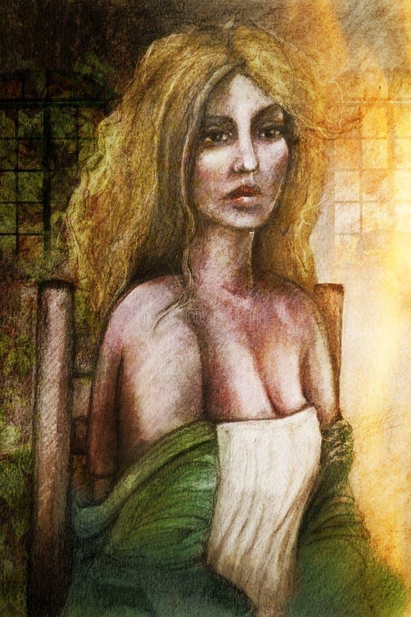 Woman in garden art stock image