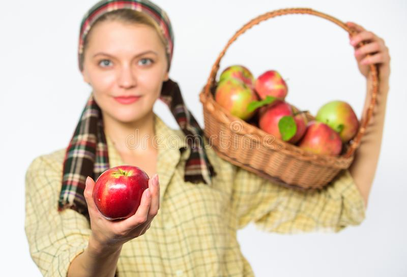 Woman gardener rustic style offer you apple on white background selective focus. Lady gardener proud of her harvest. Try. This ripe juicy apple. Woman sincere stock image