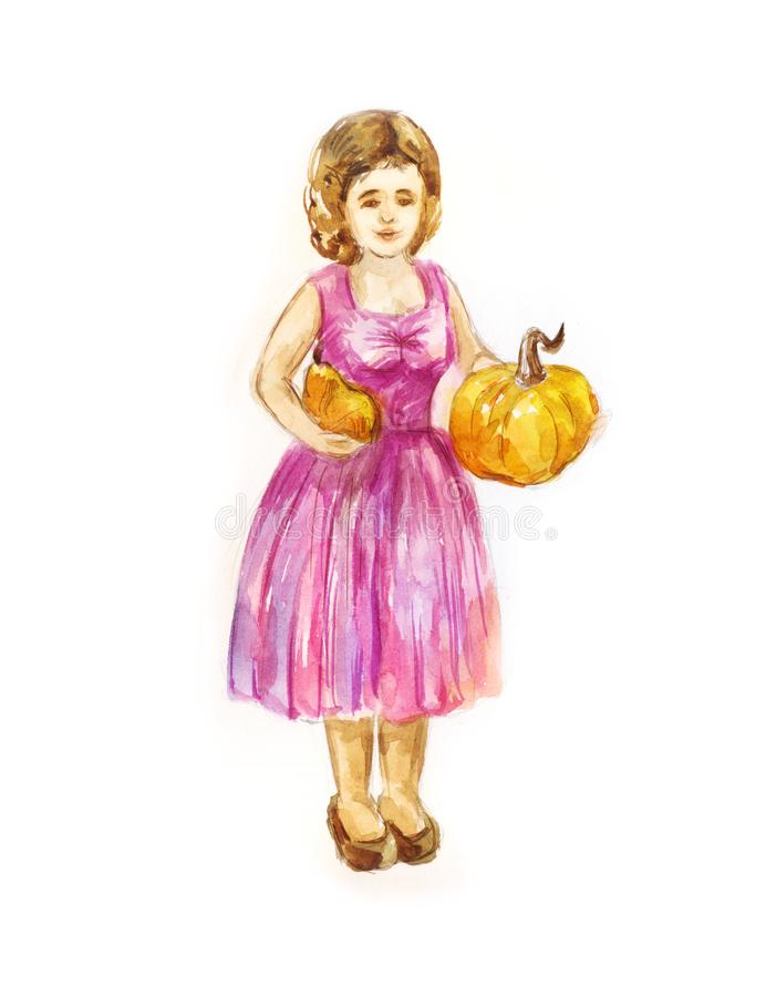Woman gardener with two small pumpkins in her hands. Harvesting. Old woman with two small pumpkins in his hands. Harvesting season. Autumn watercolor vector illustration