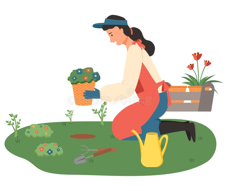 Woman Gardening, Lady with Flowers in Pots Vector vector illustration