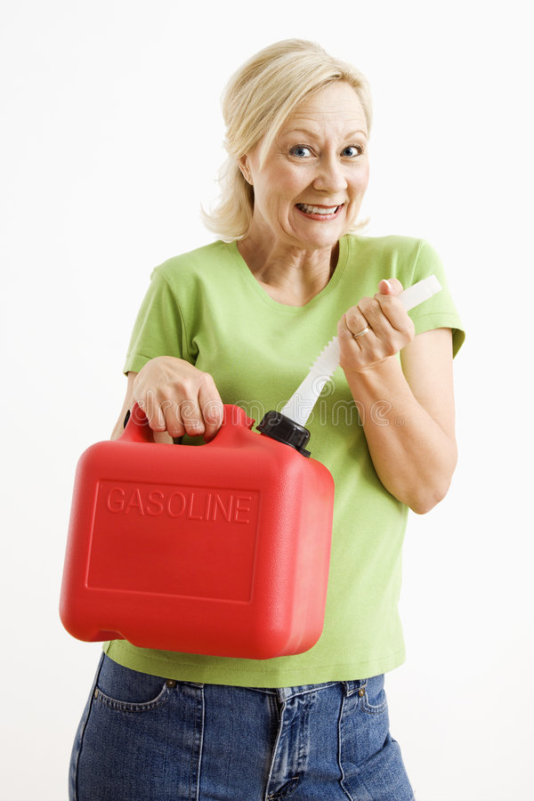 Download Woman with gas can. stock photo. Image of half, happiness - 6153400