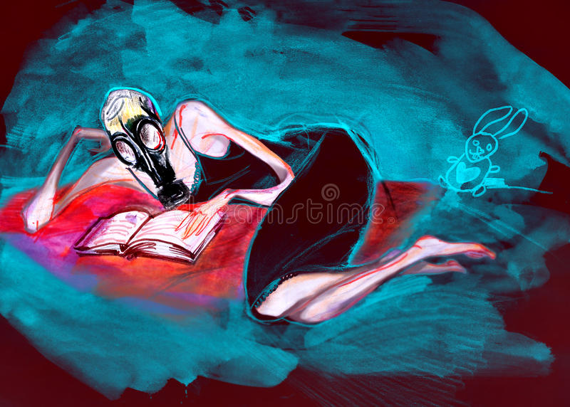 Woman in gas mask, reading a book, drawing on paper royalty free stock photography