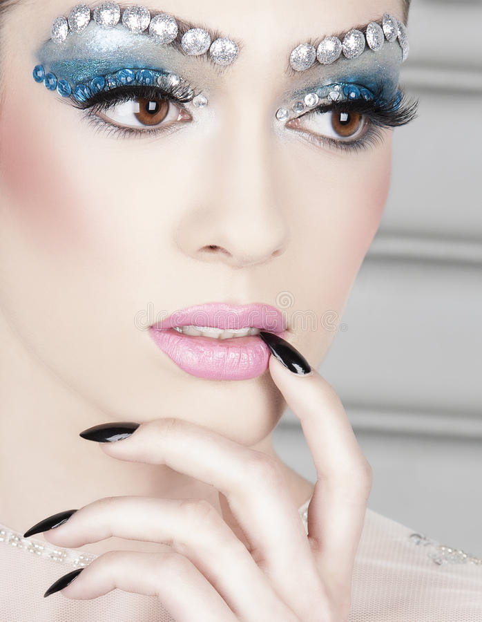 Woman With Gem Makeup Stock Photo. Image Of Sequin Shiny - 30460504