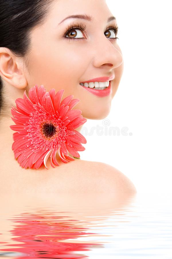 Woman with gerber flower royalty free stock images