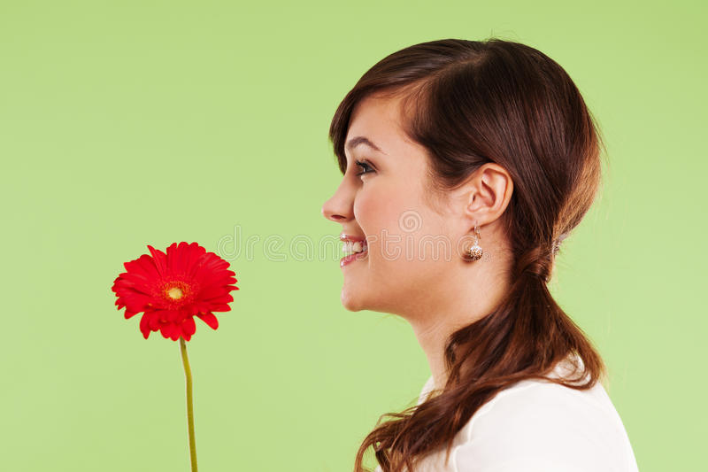 Download Woman with gerbera stock image. Image of head, contemplation - 29483525