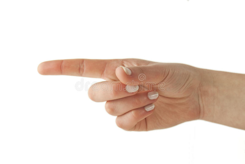 Woman gesturing direction with her hand
