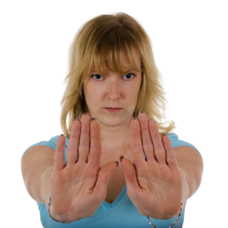 Download Woman Gesturing Stop With Hand Stock Image - Image of desist, casual: 3880625
