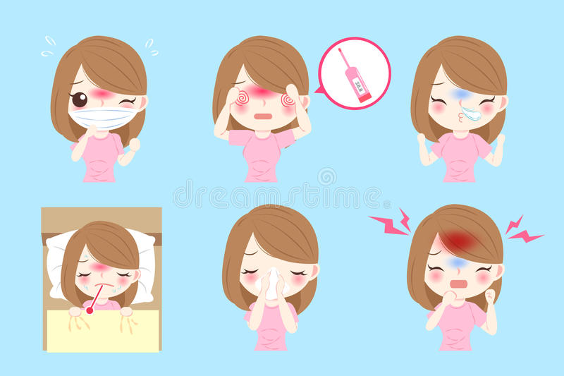 Woman get cold royalty free illustration