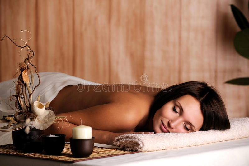 Woman get relax in the spa salon royalty free stock photos