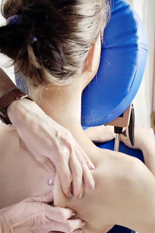 Download Woman gets massage stock photo. Image of blue, chair, help - 4089766