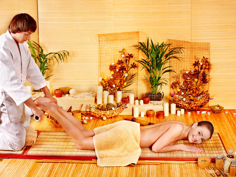 Download Woman Getting Bamboo Massage. Stock Image - Image: 27677823