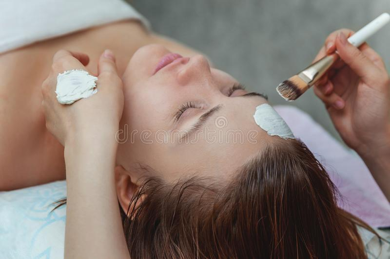 Woman getting face treatment with white nourishing creme in spa salon royalty free stock photos