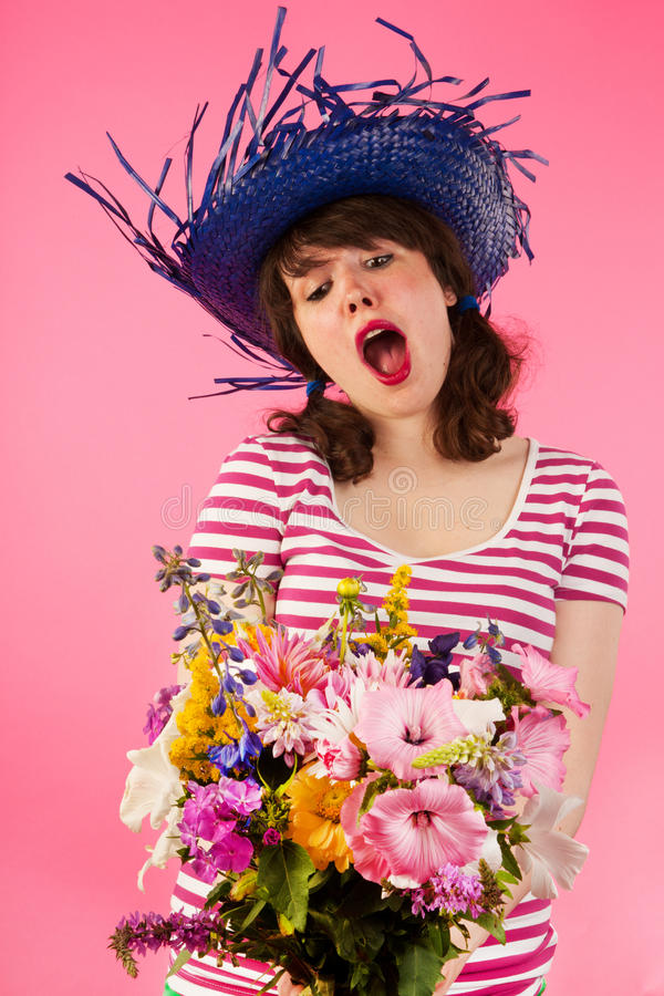 Download Woman getting flowers stock photo. Image of stripes, standing - 26149610