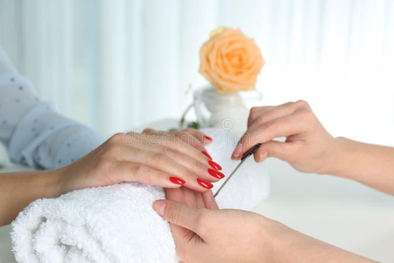 Woman getting manicure in salon. Beautiful nail polish stock image