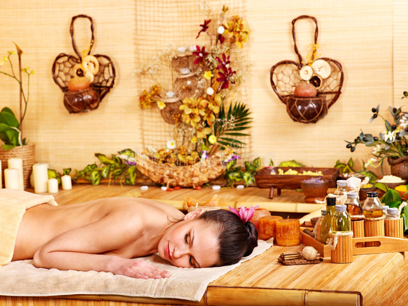 Download Woman Getting Massage In Bamboo Spa. Stock Photo - Image: 24372260
