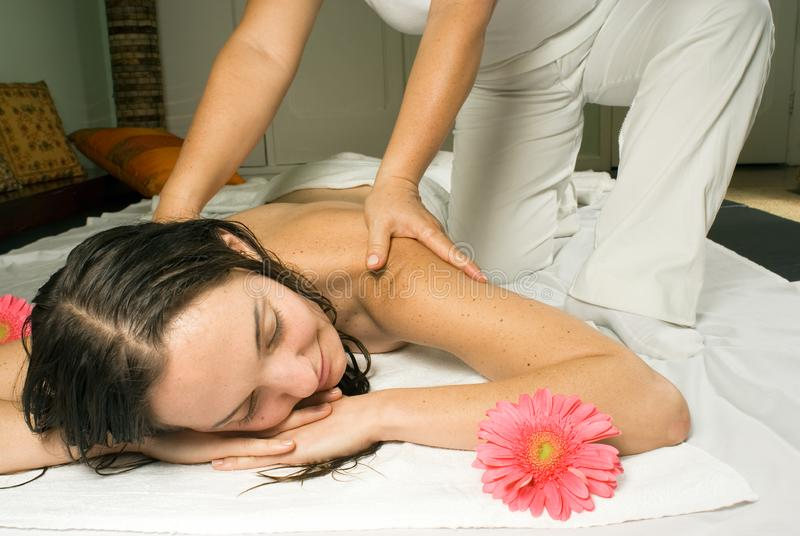 Woman Getting a Massage - Horizontal stock image