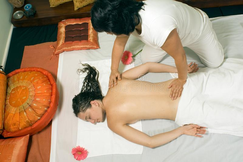 Woman Getting a Massage - Horizontal royalty free stock photos