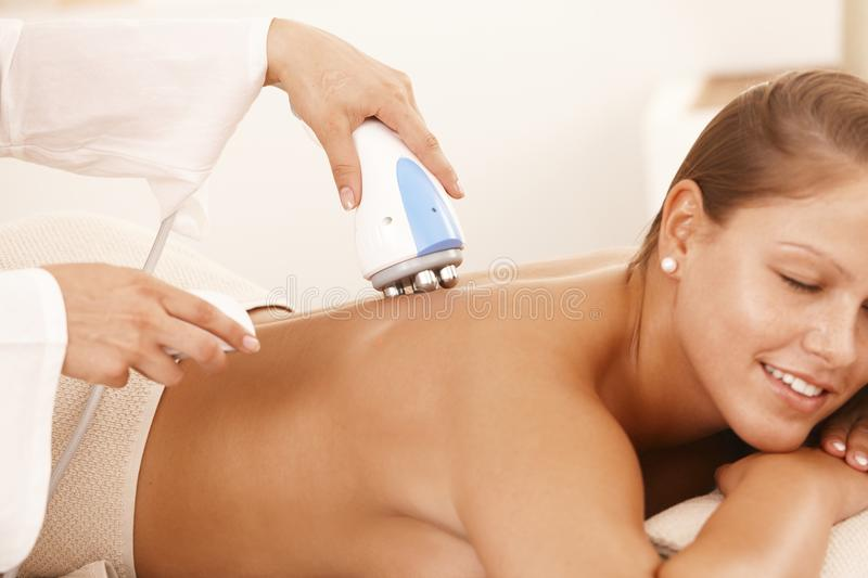 Woman Getting Radio Frequency Treatment Royalty Free Stock Image