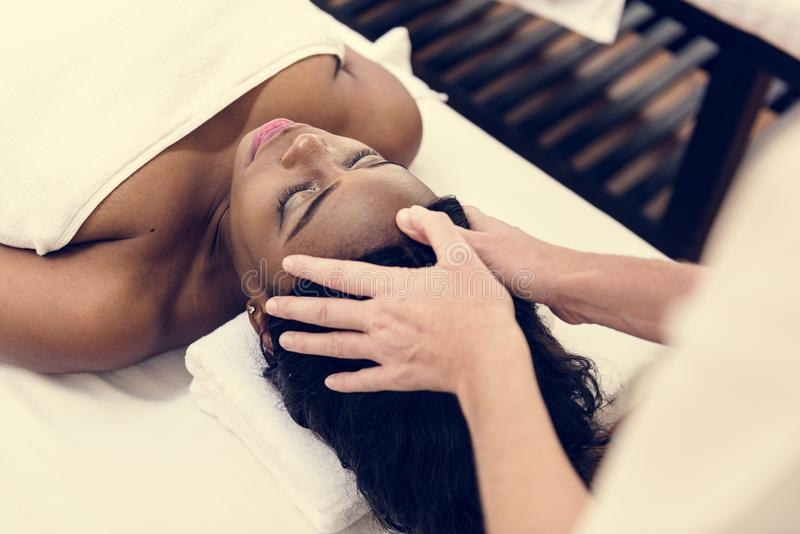 Woman getting a spa salon therapy treatment royalty free stock photos