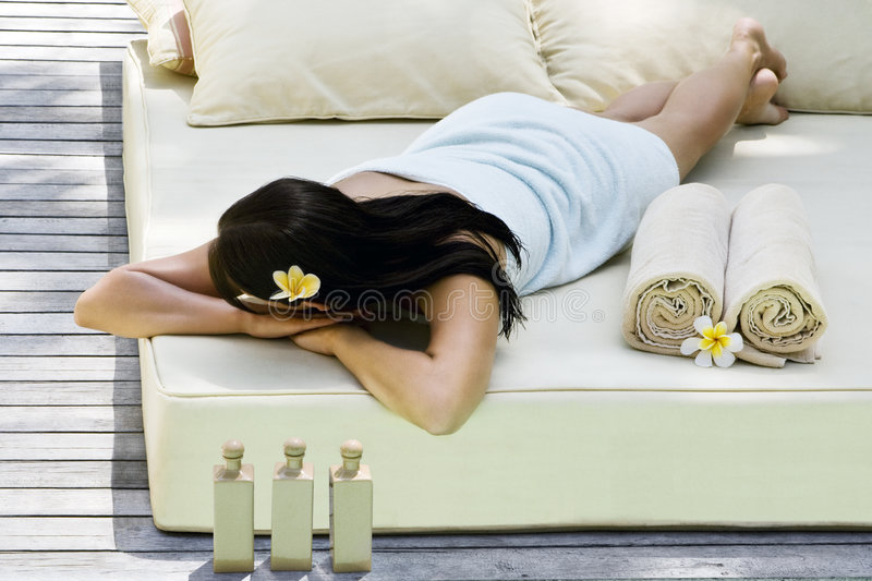 Woman getting spa treatment royalty free stock image