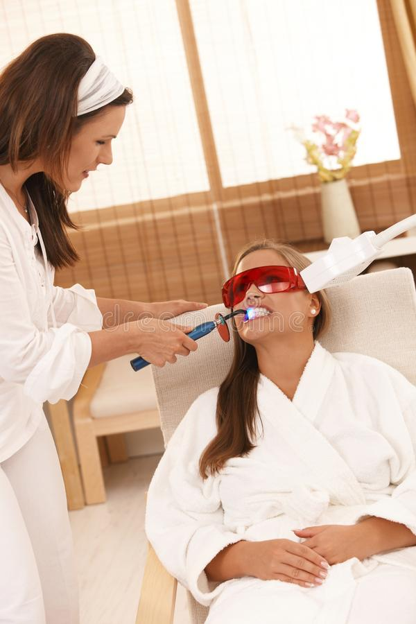 Download Woman Getting Tooth Whitening Stock Photo - Image: 18506178