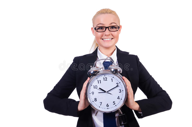 Woman With Giant Clock Royalty Free Stock Images