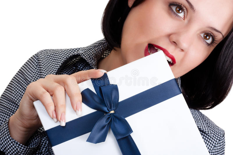 Download Woman with a gift stock photo. Image of anniversary, adult - 17302644
