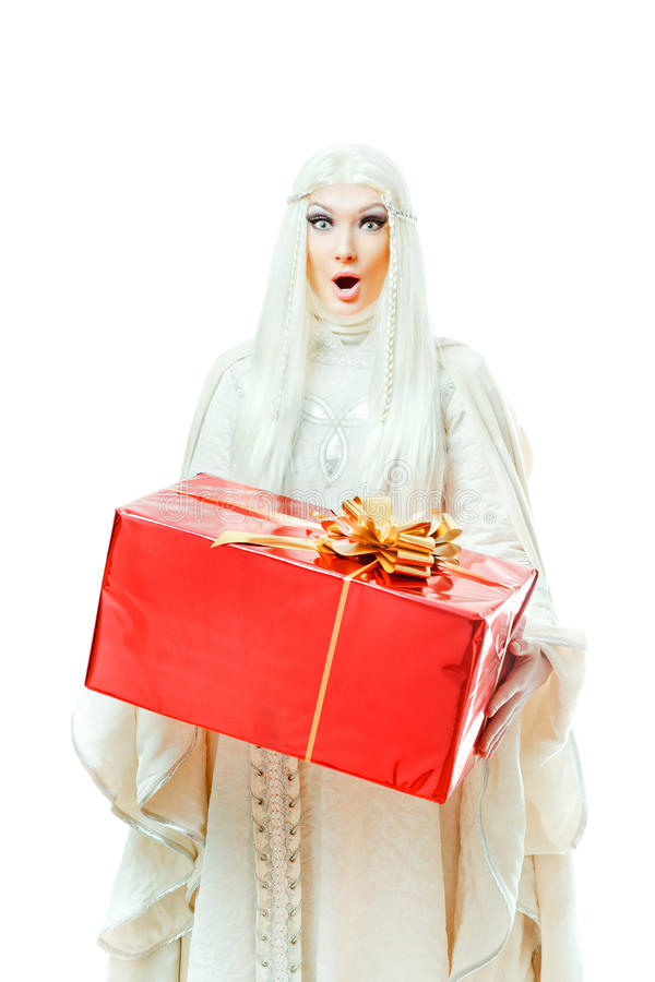 Woman with a gift stock photo