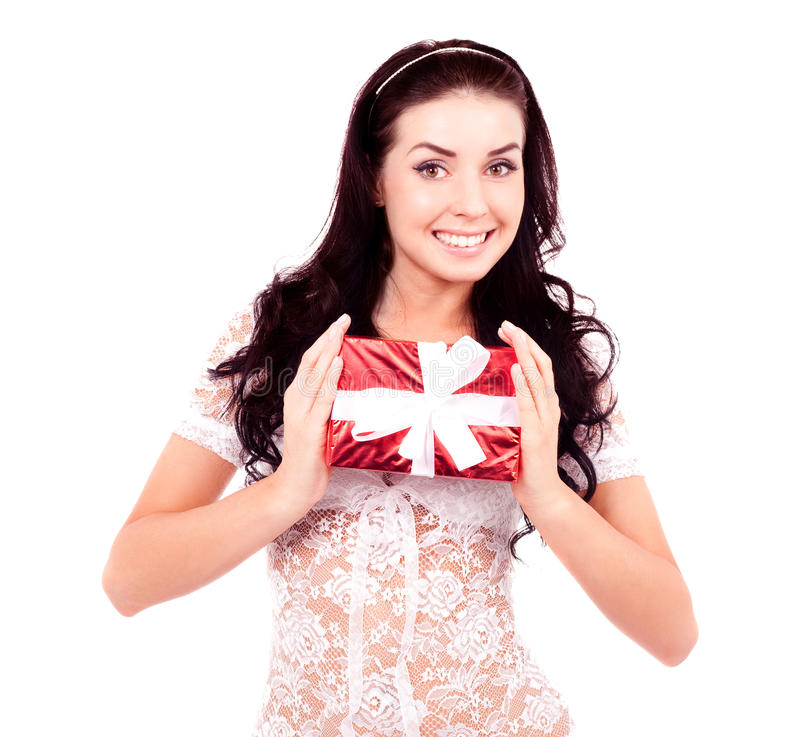 Download Woman With A Gift Royalty Free Stock Photography - Image: 28655527