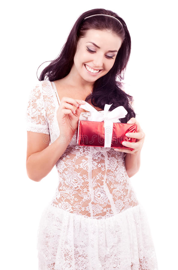 Download Woman with a gift stock image. Image of portrait, isolated - 28655727
