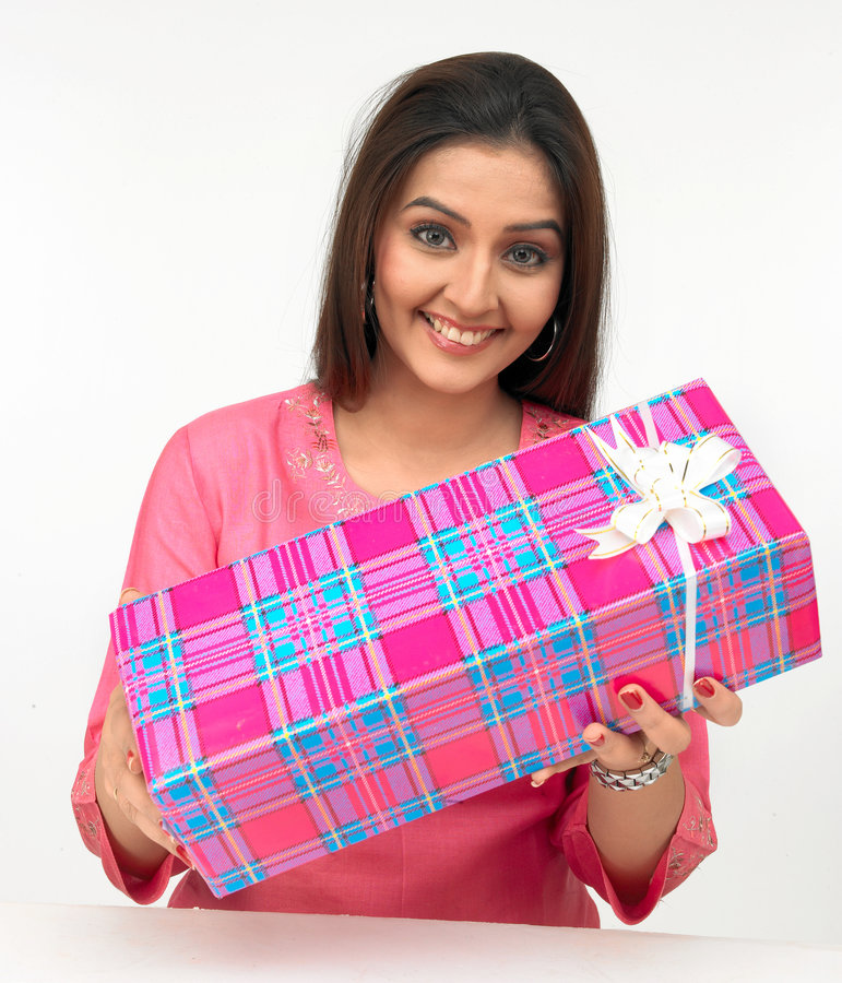 Woman With A Gift Box Royalty Free Stock Image