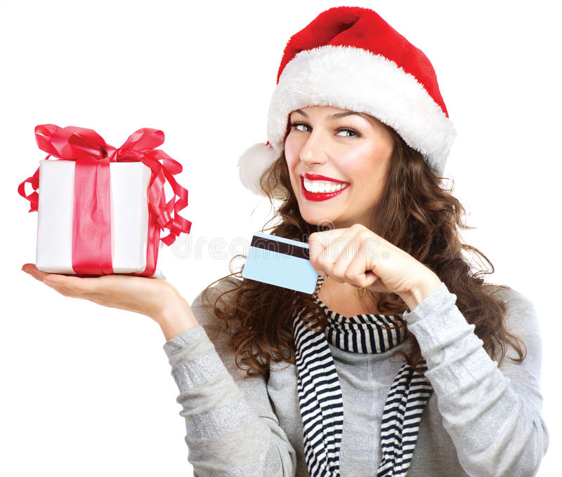 Download Woman With Gift Box And Credit Card Stock Photo - Image: 28173940