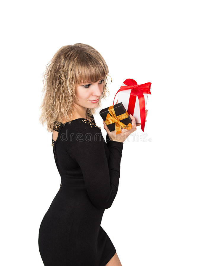 Woman with gift box. Isolated on white background stock images