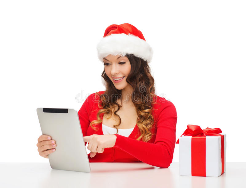 Download Woman With Gift Box And Tablet Pc Computer Stock Image - Image: 34773937