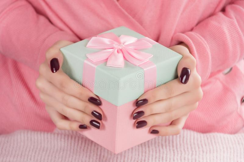 Woman with gift box for Valentines day holiday royalty free stock image